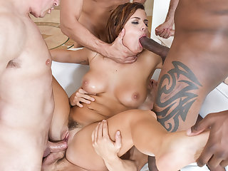 Sexy babe Keisha Grey gets gangbanged by five horny studs.